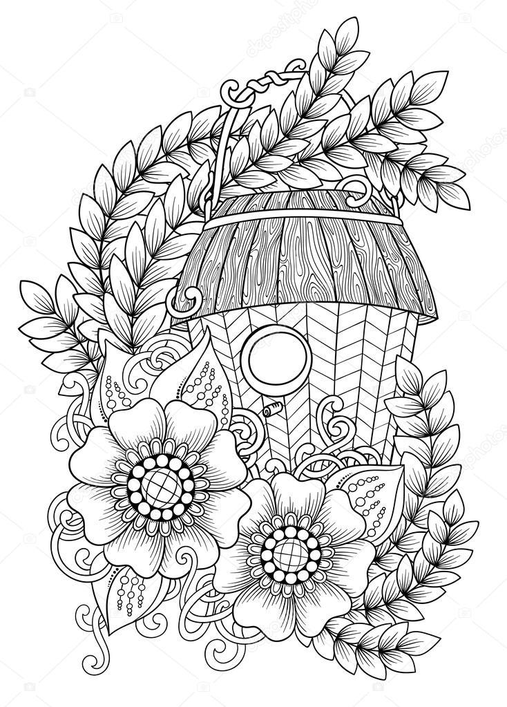 black and white wood nesting box hand drawn outline bird