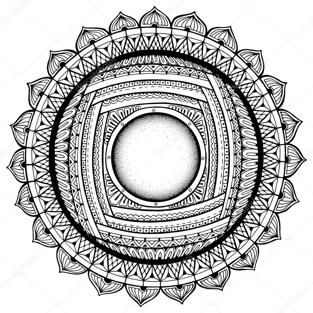 Kreis Sommer Doodle Blume Ornament. Die Hand gezeichnete Kunst ...