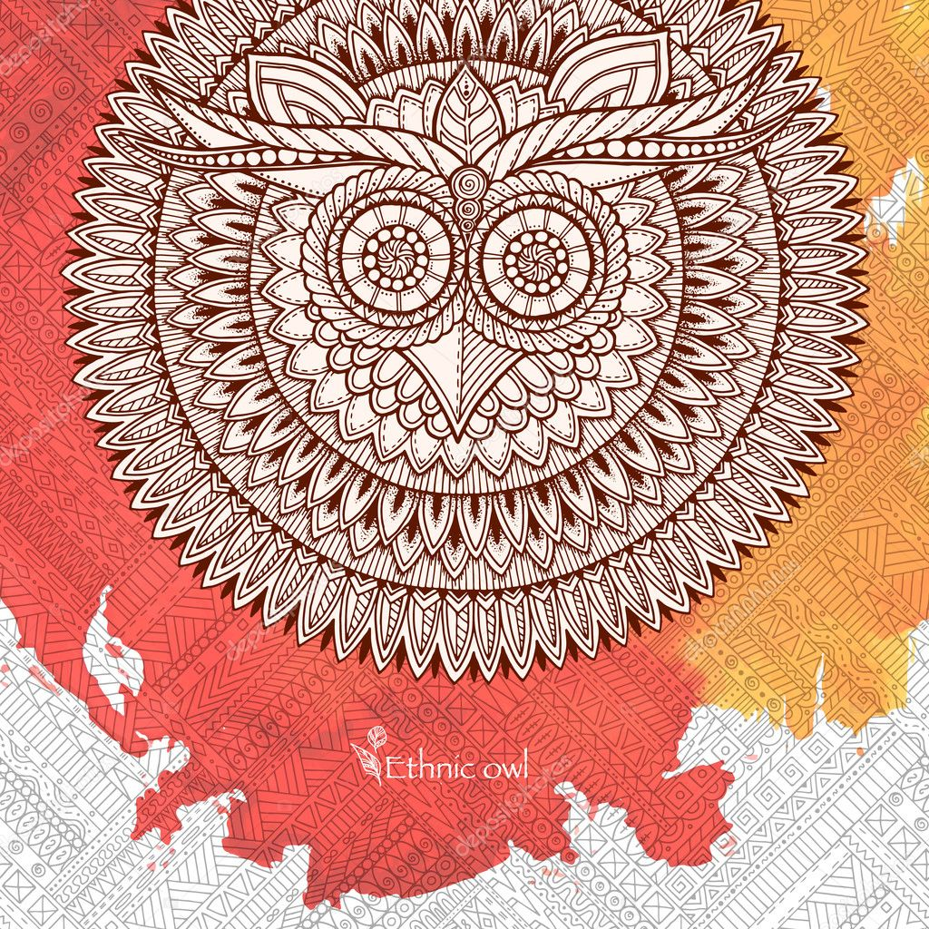 Owl Mandala With Abstract Ethnic Ornament Pattern Colorful