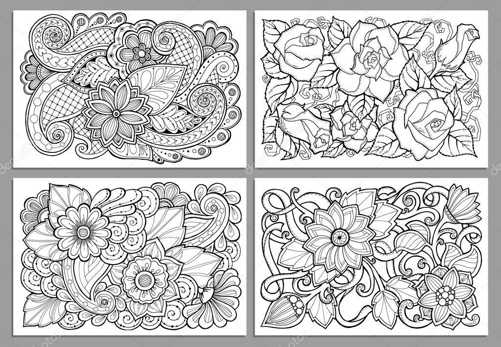 Vorlage für Vintage-Karte, Blumen von Hand gezeichnet. Schwarz ...