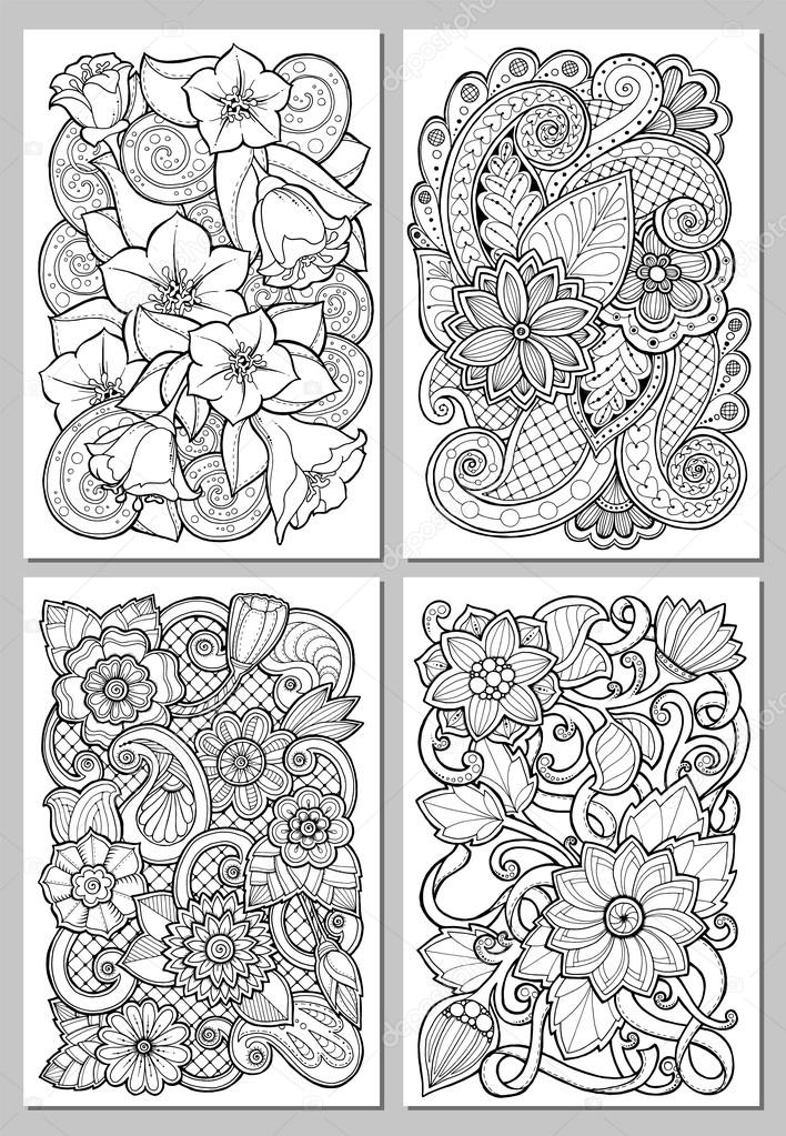 Greeting cards with abstract flowers. Pages for adult coloring book.
