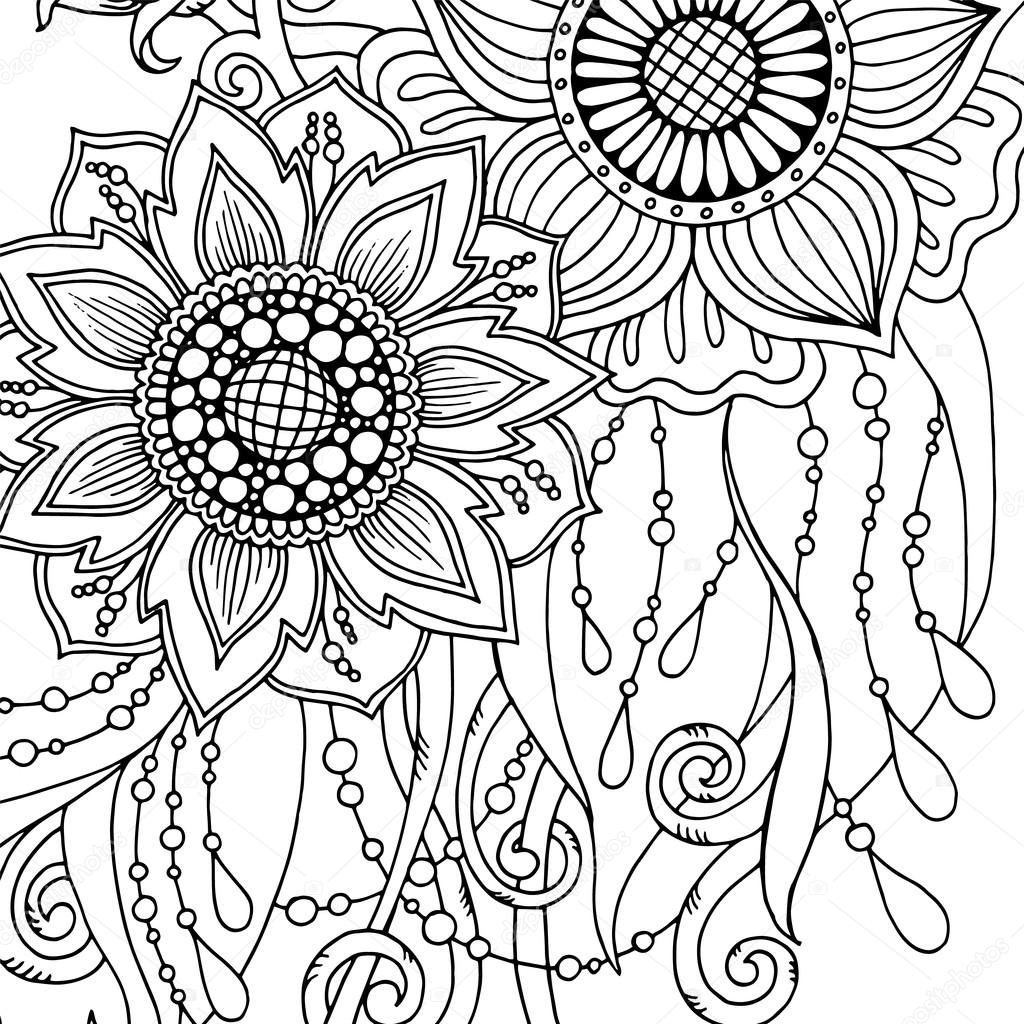 Tarjeta de felicitación con flores abstractas. Página para adultos ...
