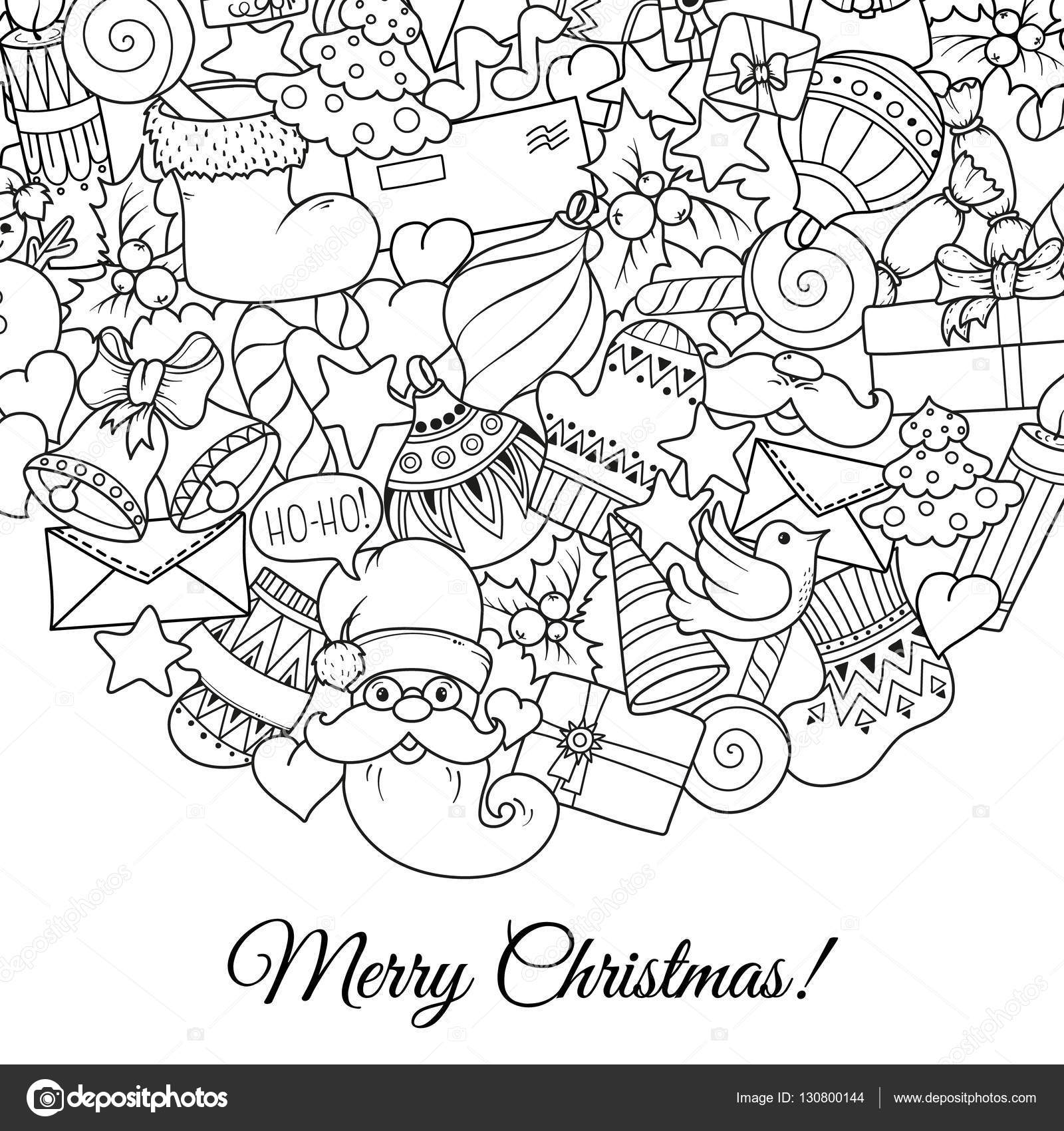 Merry Christmas Set Of Xmas Monochrome Pattern And Text Templates Ideal For Holiday Greeting Cards Print Coloring Book Page Or Wrapping Paper