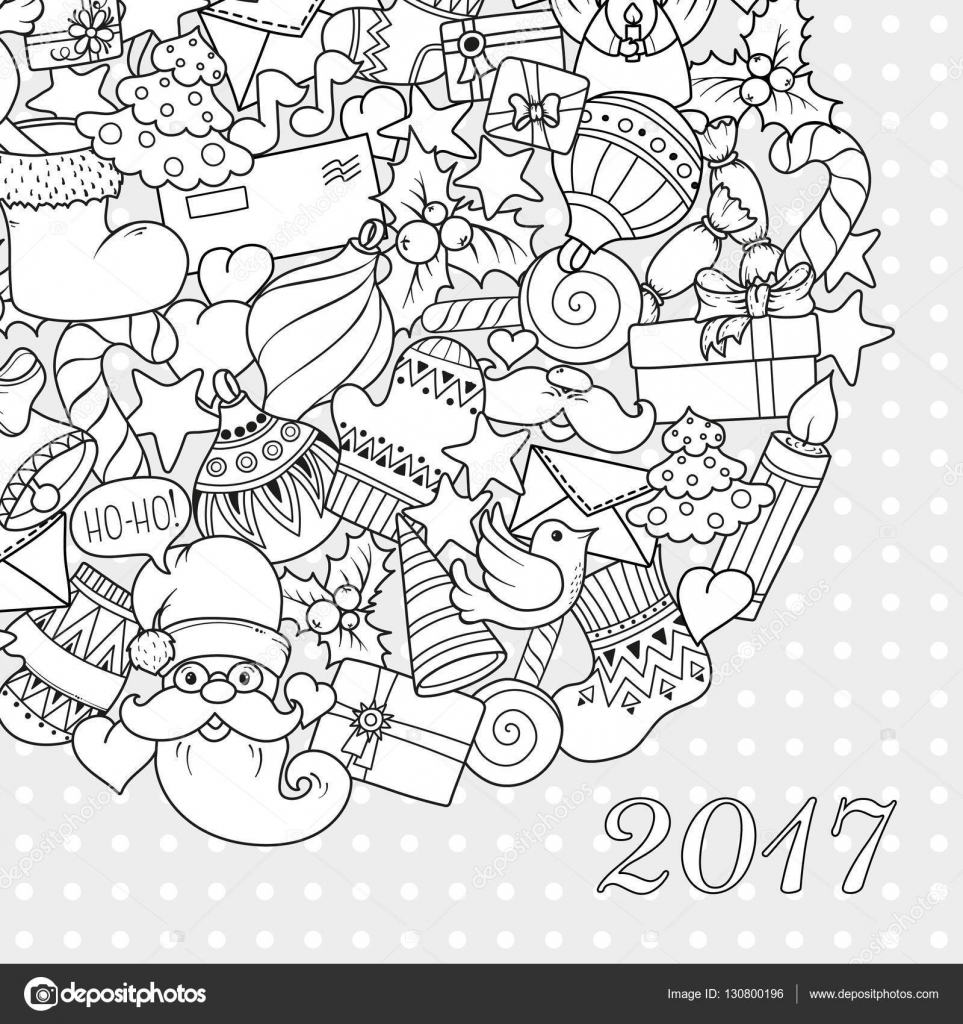 merry christmas set of xmas monochrome pattern and text templates ideal for holiday greeting cards print coloring book page or wrapping paper - Coloring Book Paper Stock