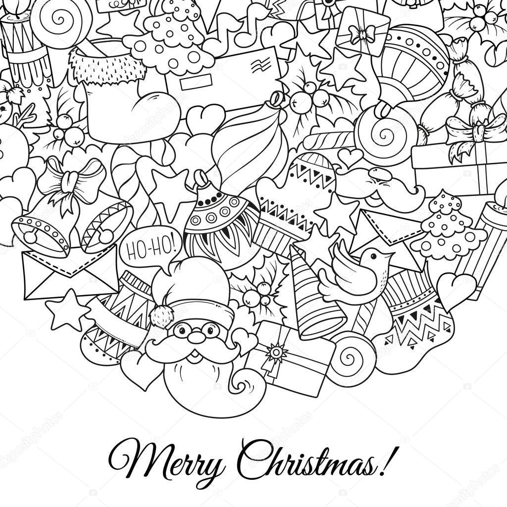 クリスマス モノクロ パターンとテキスト テンプレートのメリー クリスマス セット。理想的な休日のグリーティング