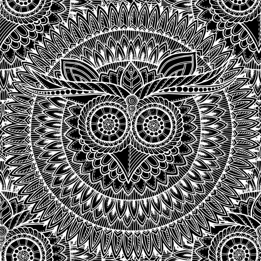 Seamless ethnic pattern with owl mandala and zentangle motives. Mandala stylized print template for fabric and paper. Black and white boho chic design.