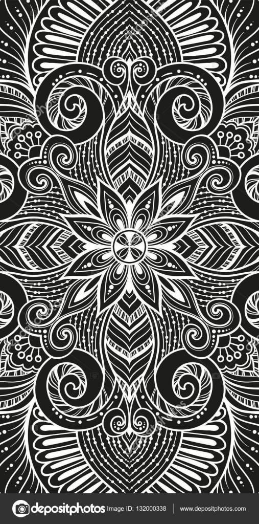 Retro floral ethnique asiatique doodle motif de fond noir et blanc dans le vecteur islam arabe - Coussin ethnique noir et blanc ...