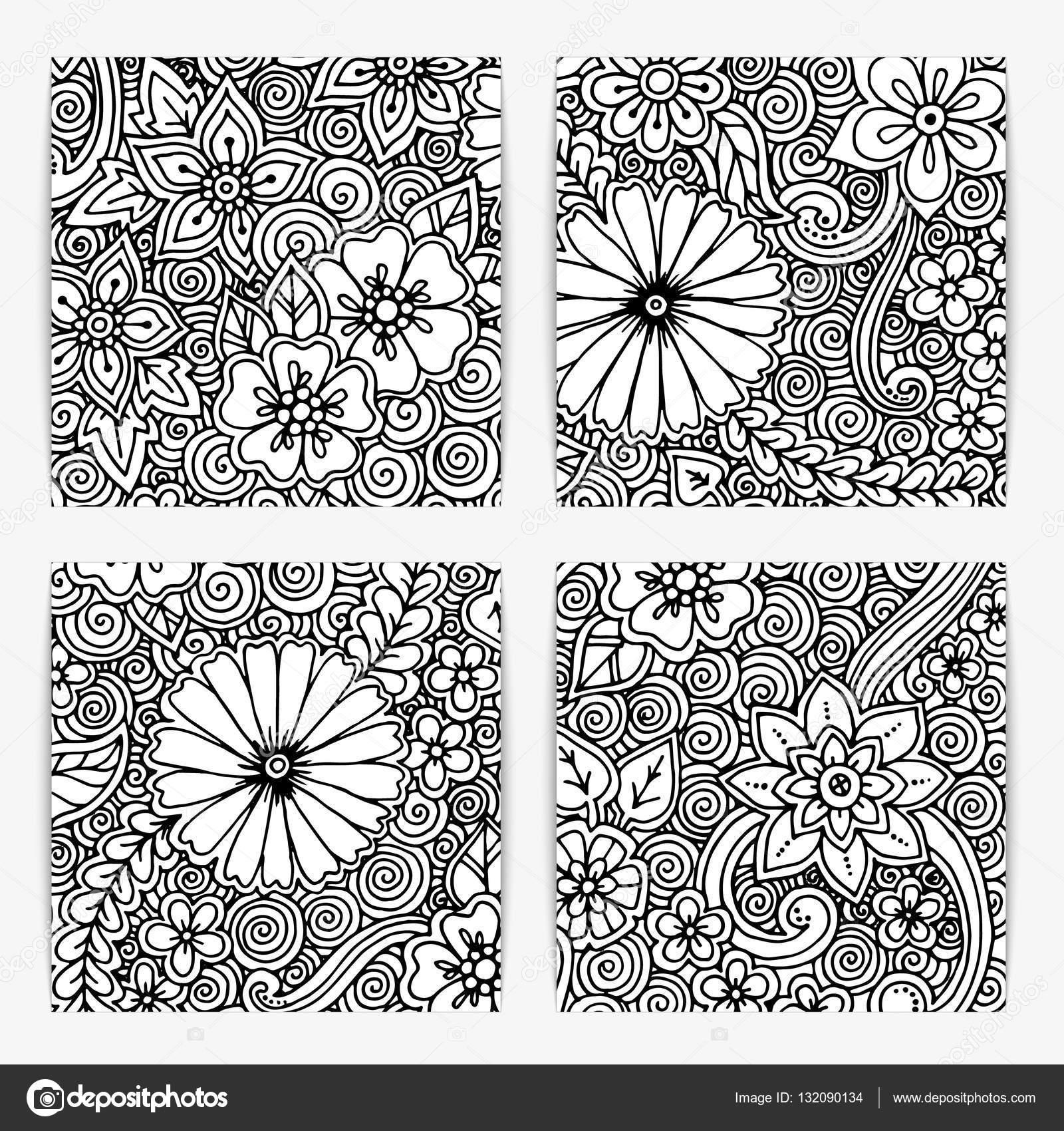 Conjunto de patrón blanco y negro étnico sin costuras ornamental ...