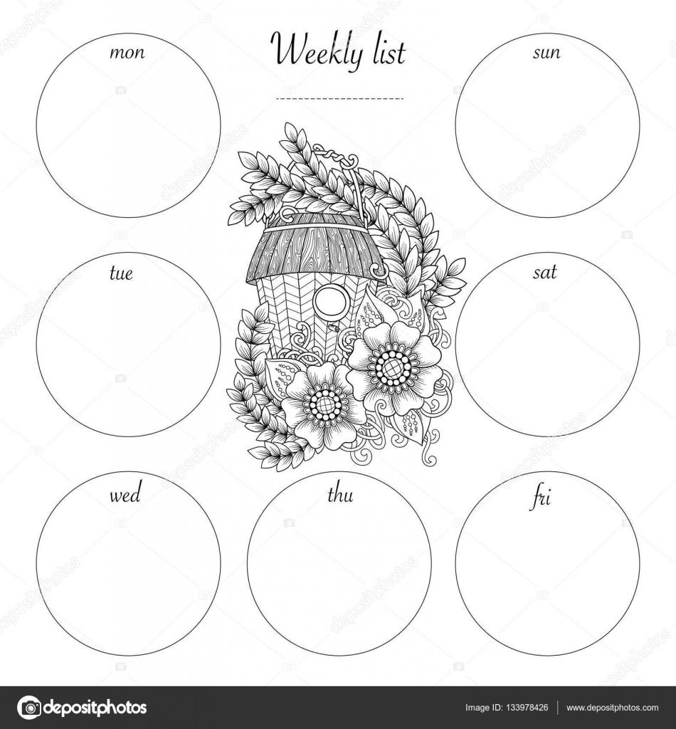 Planner Ontwerp En Hand Getrokken Kleurplaten Pagina Zwart Wit