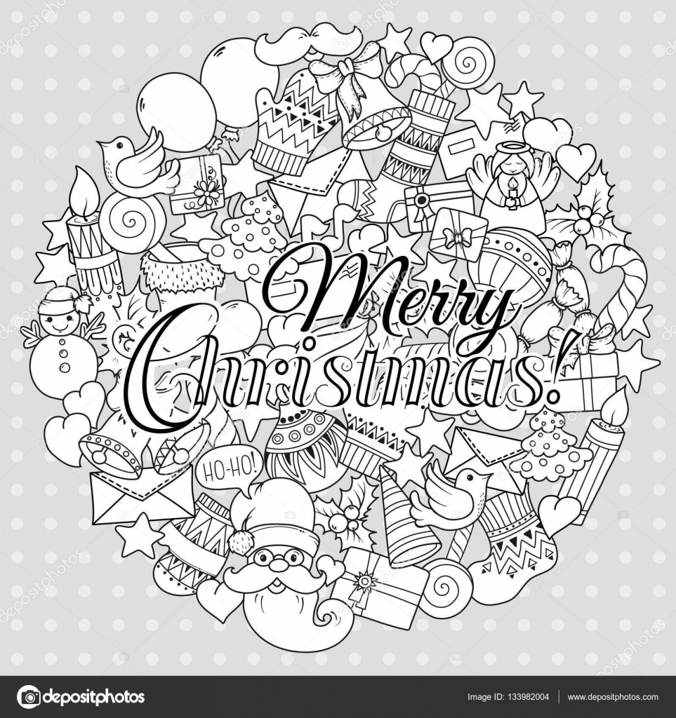 Merry Christmas Set Of Xmas Monochrome Pattern And Text Templates