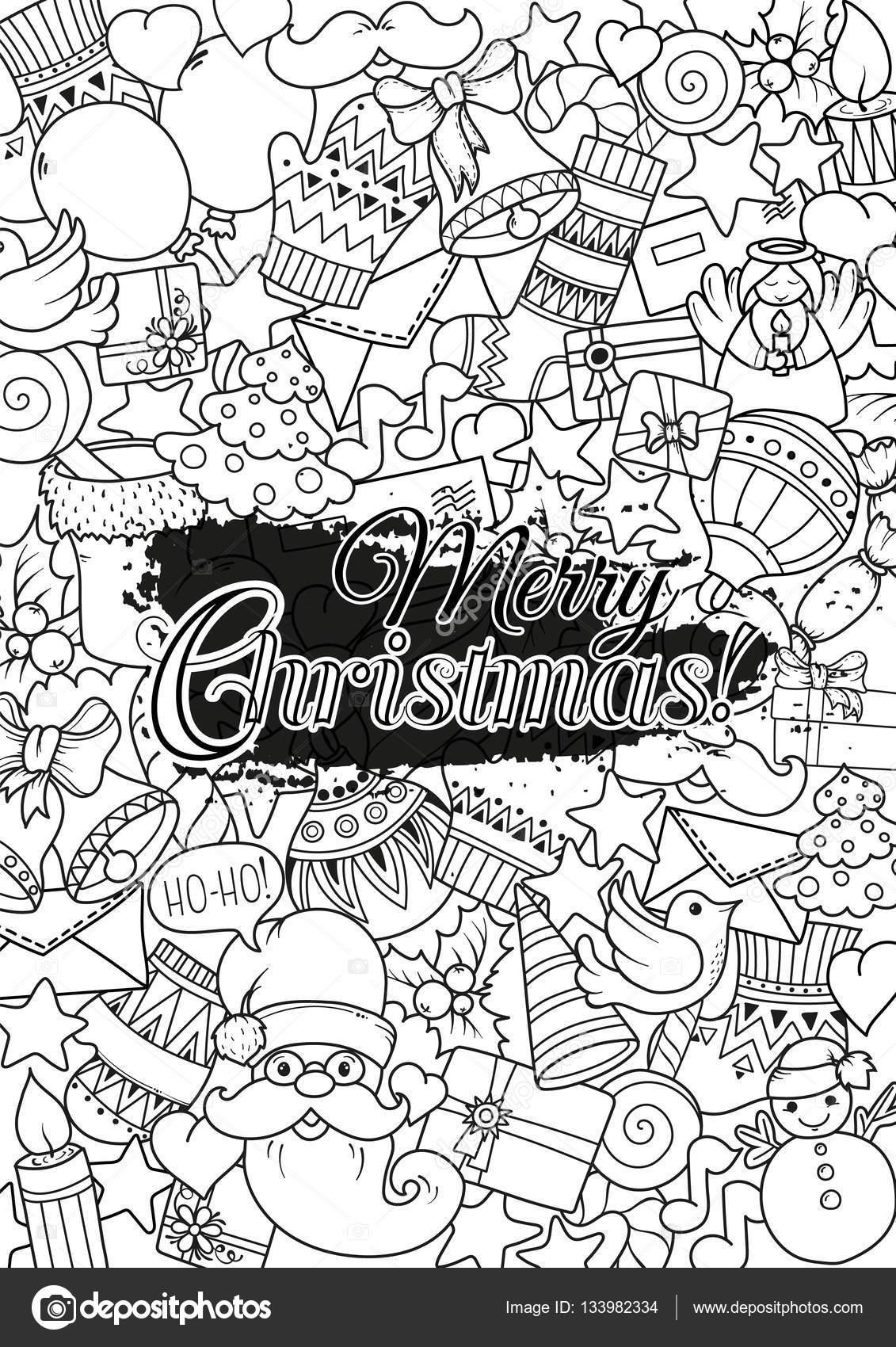 Juego feliz Navidad de plantillas monocromas de patrón y el texto de ...