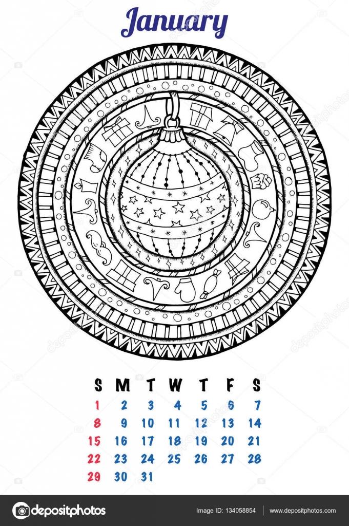 Januari 2017 Kalender Planner Ontwerp Mandala Winter Kerst Patroon