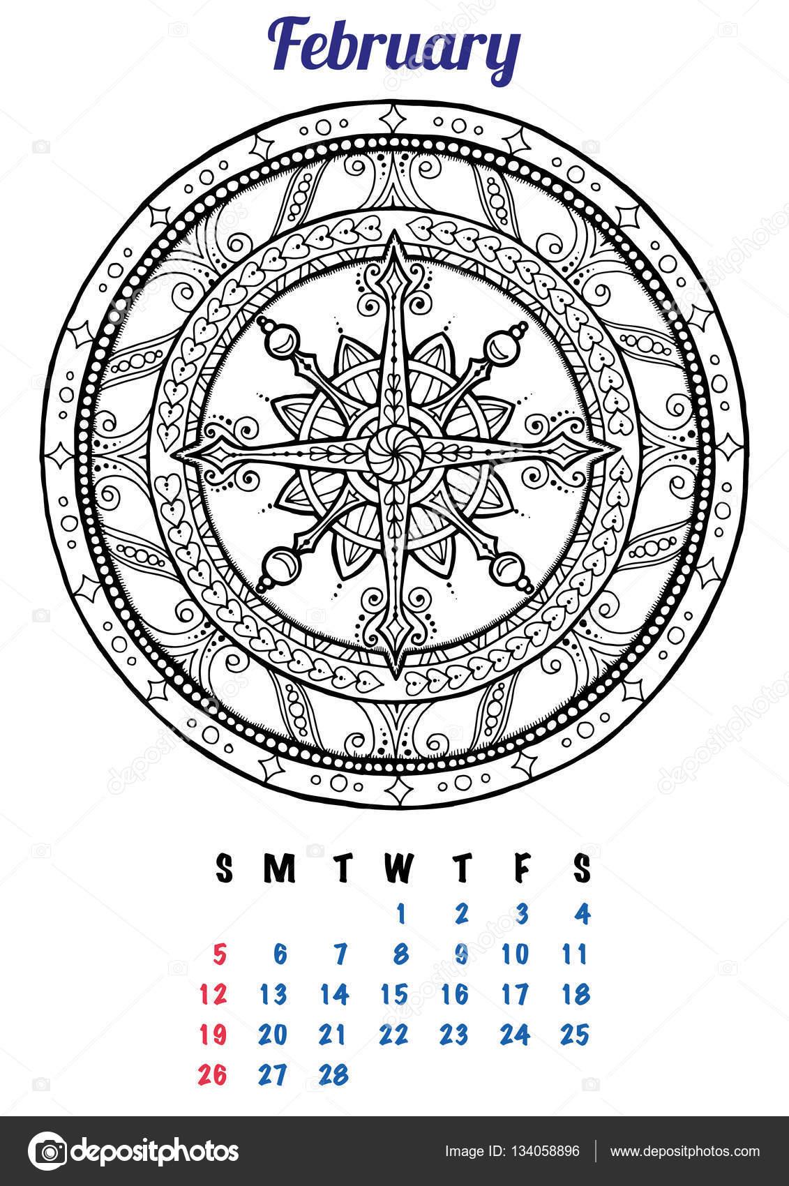 2017 Februari Kalender Planner Ontwerp Mandala Winter Kerst Patroon