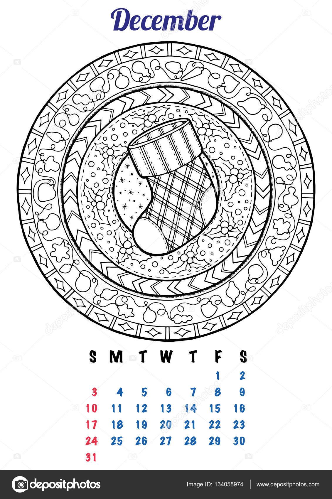 Gratis Kleurplaten Kerst Mandala.2017 December Kalender Planner Ontwerp Mandala Winter Nieuwjaar