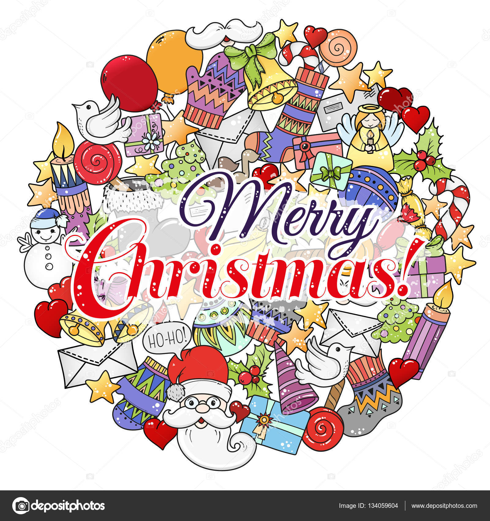 Stampa Biglietti Di Natale.Insieme Di Natale Merry Del Reticolo Colorato Di Natale Ideale Per