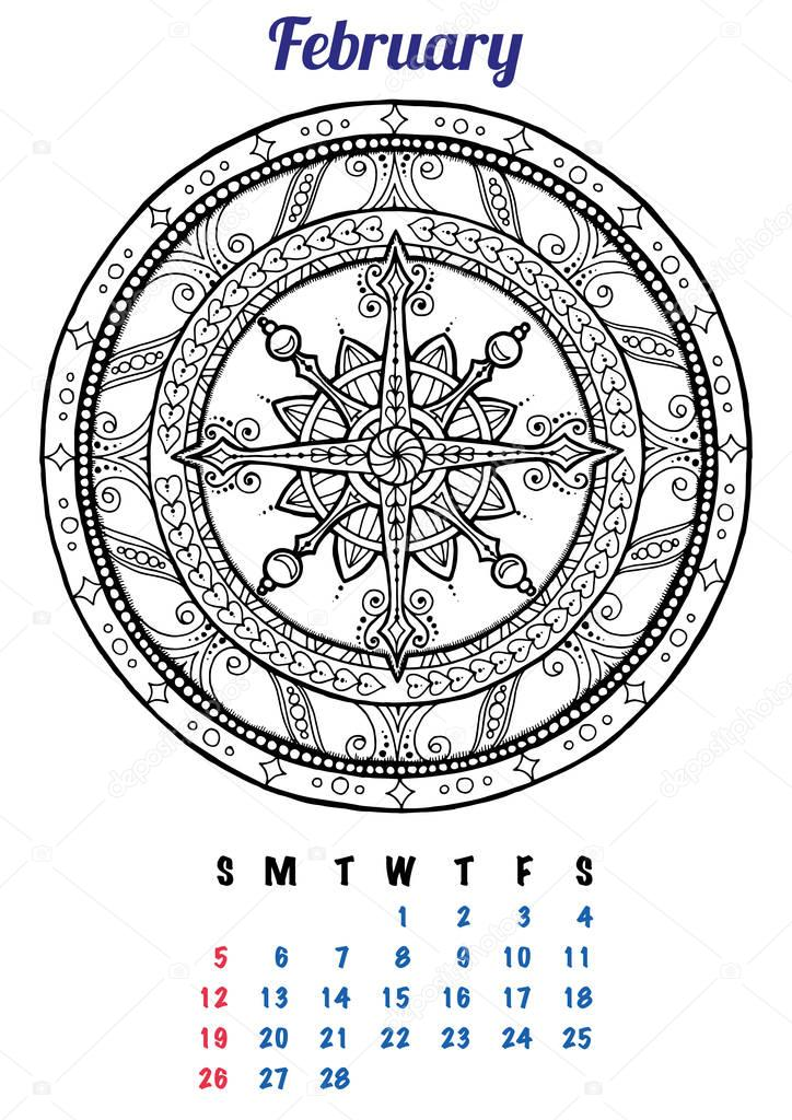 2017 February Calendar Planner Design Mandala Winter Christmas