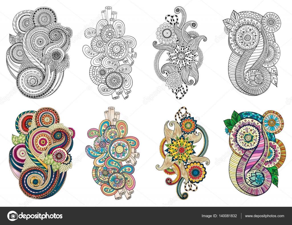 Zentangle floral étnico, patrón de fondo de doodle en vector ...