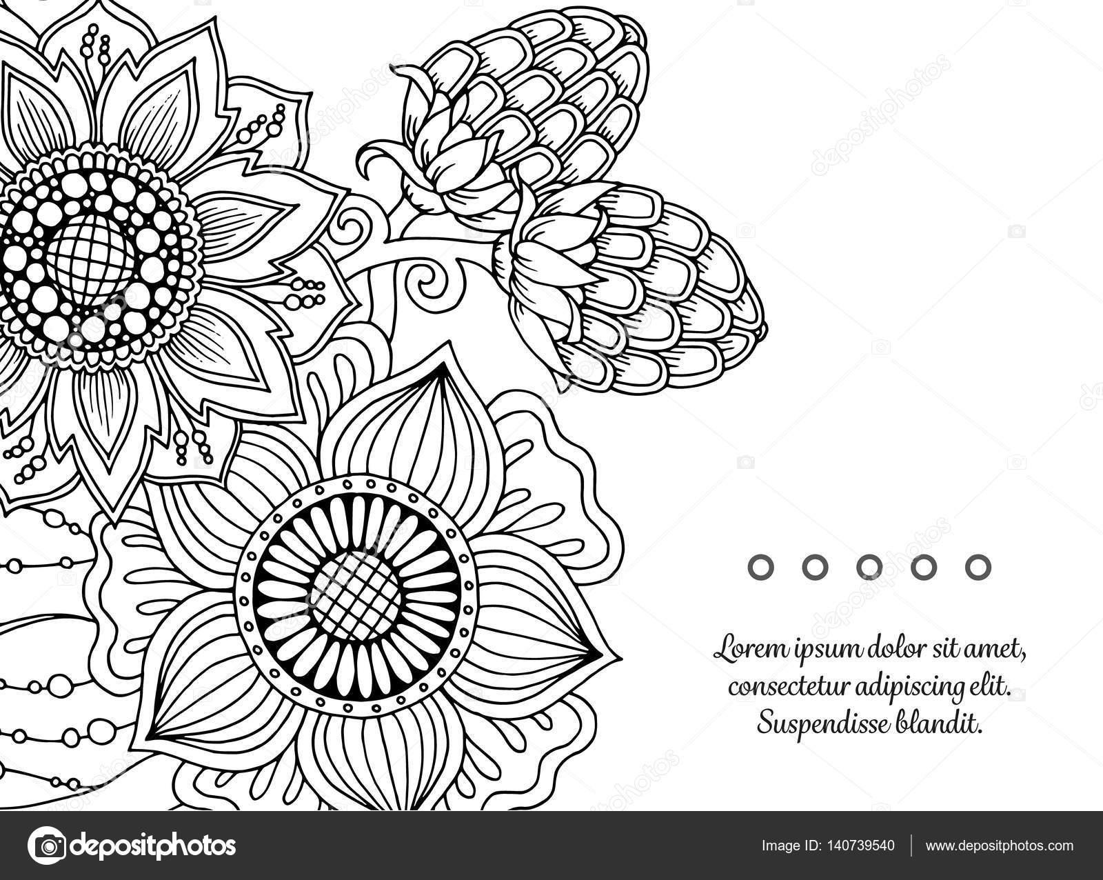 çiçek Vektör Herhangi Bir Boyama Kitabı Tasarım Doğum Günü Ve