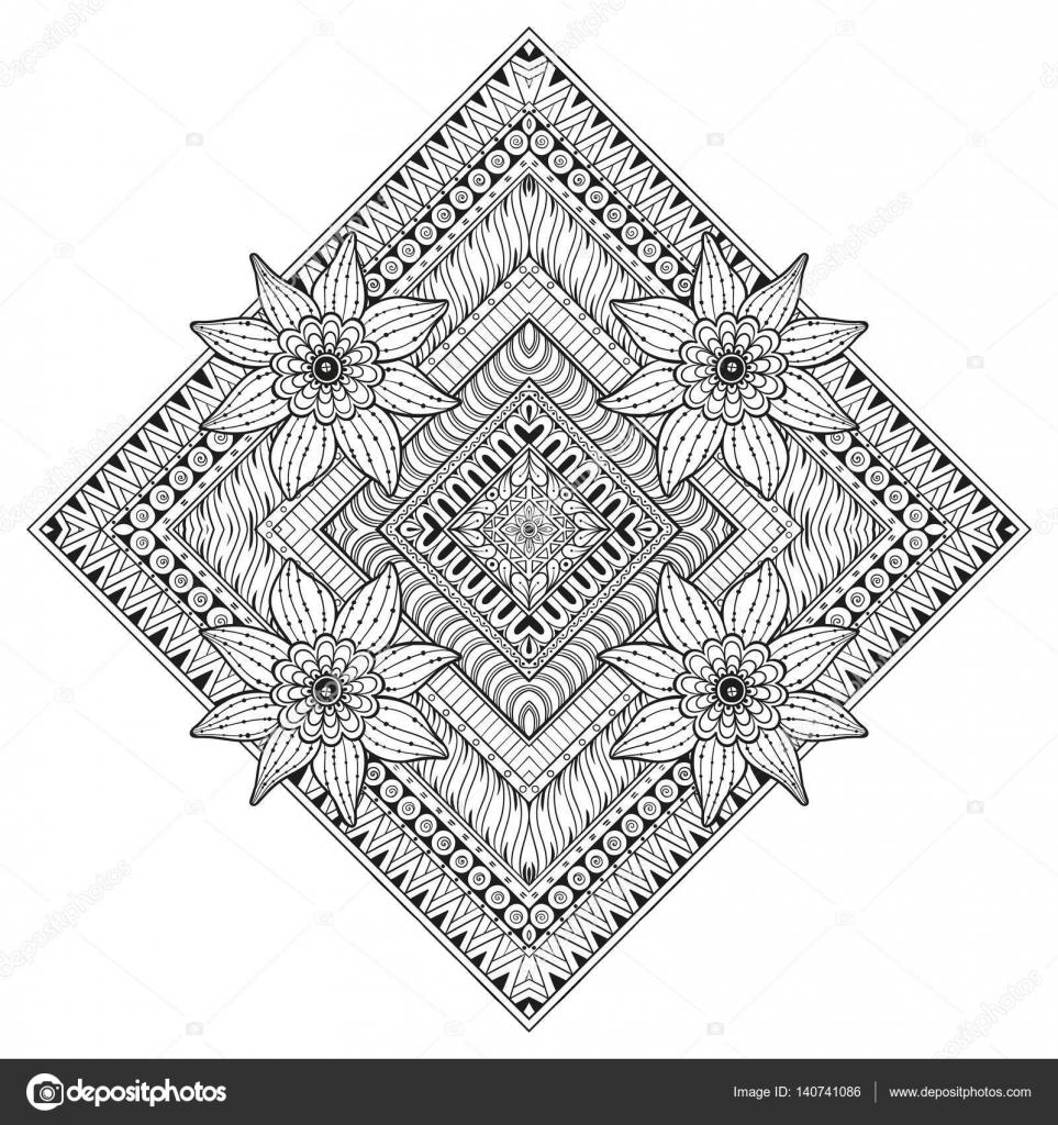 Floral Rechthoek Vector Tattoo Perfecte Kaart Voor Elke Vorm Van