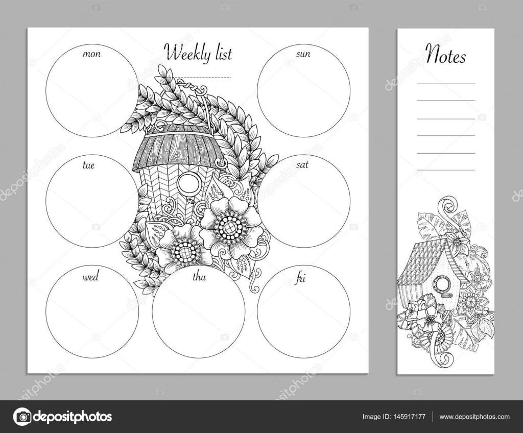 Wöchentliche Liste Design für Notizblock. Skizzenbuch, Tagebuch-Mock ...