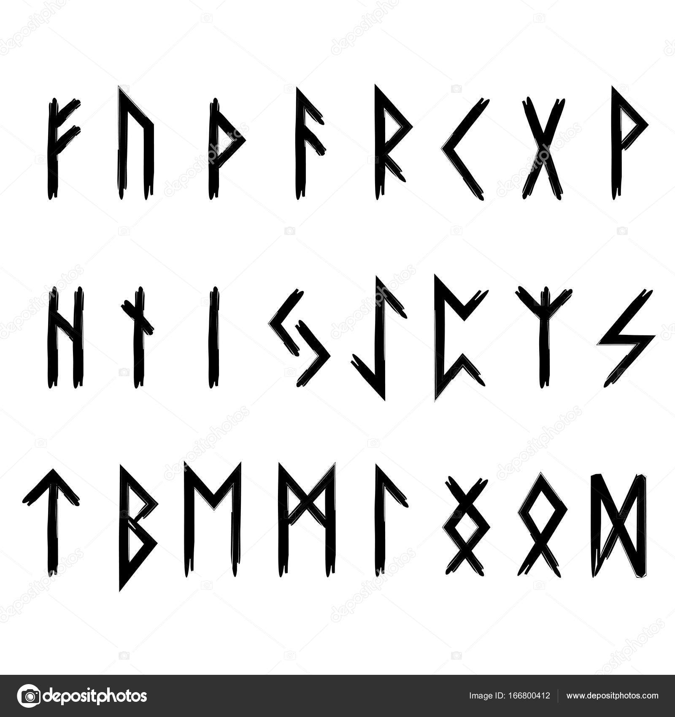 Futhark Runes Occult Heathen Paganism Vikings Stock Vector