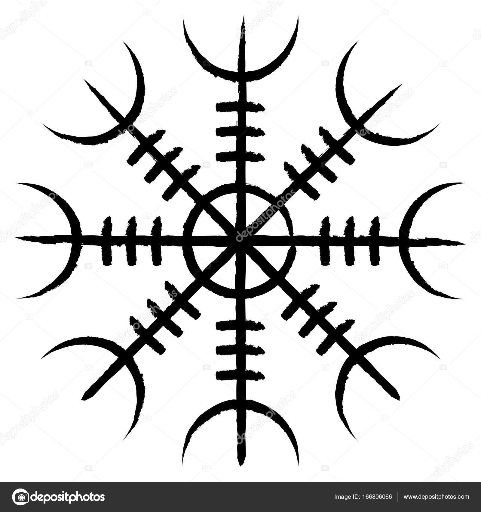 Simbolo De Dioses Nordicos Símbolo Pagano Aegishjalmur Vector De