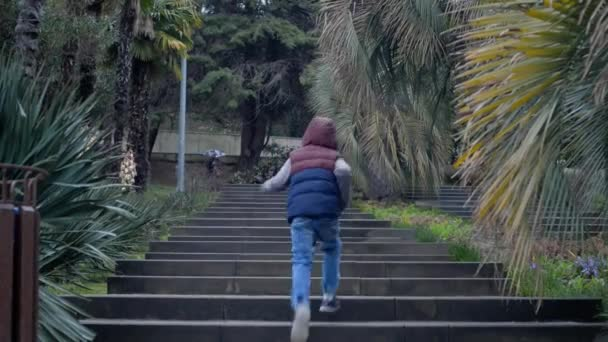 A boy runs on a stone staircase in a tropical park, it is raining outside.