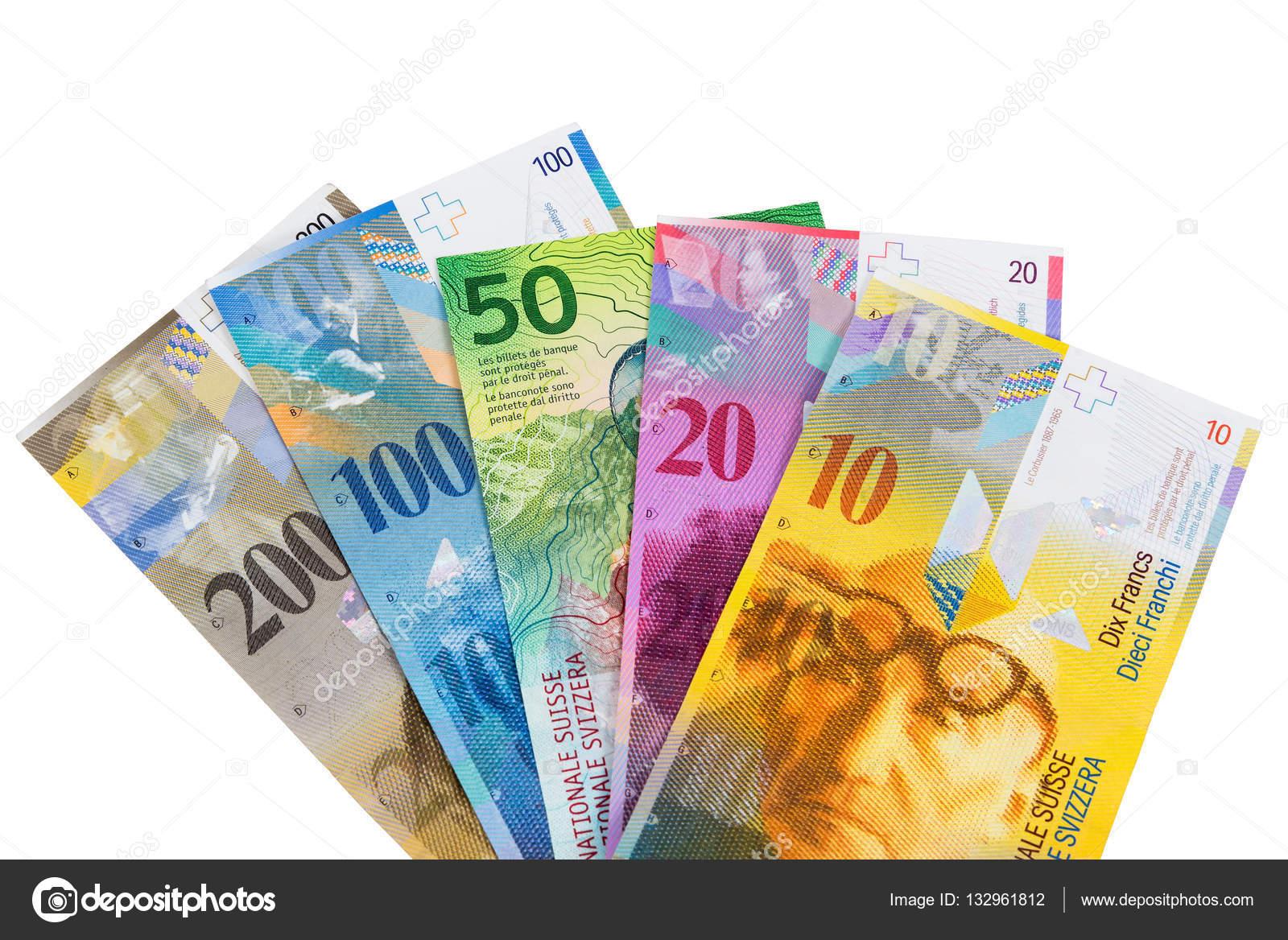 satz von schweizer franken banknoten auf wei em hintergrund stockfoto mkos83 132961812. Black Bedroom Furniture Sets. Home Design Ideas