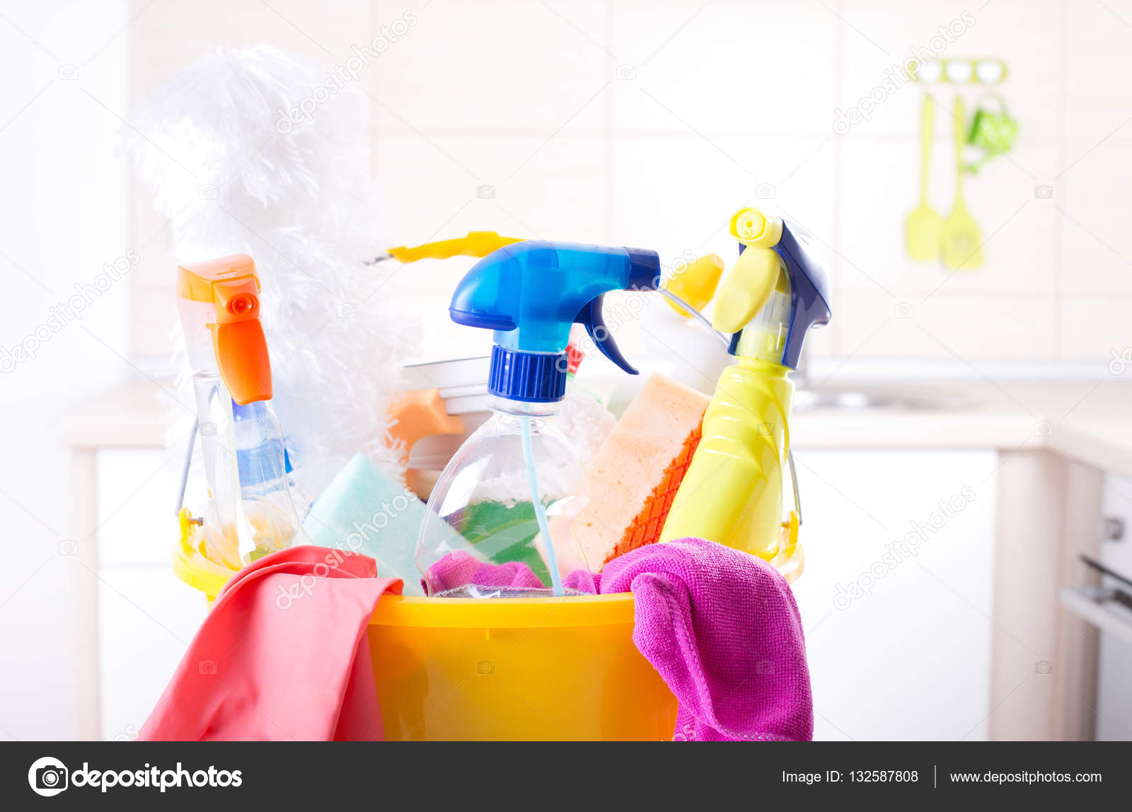 Cleaning supplies in kitchen — Stock Photo © budabar #132587808