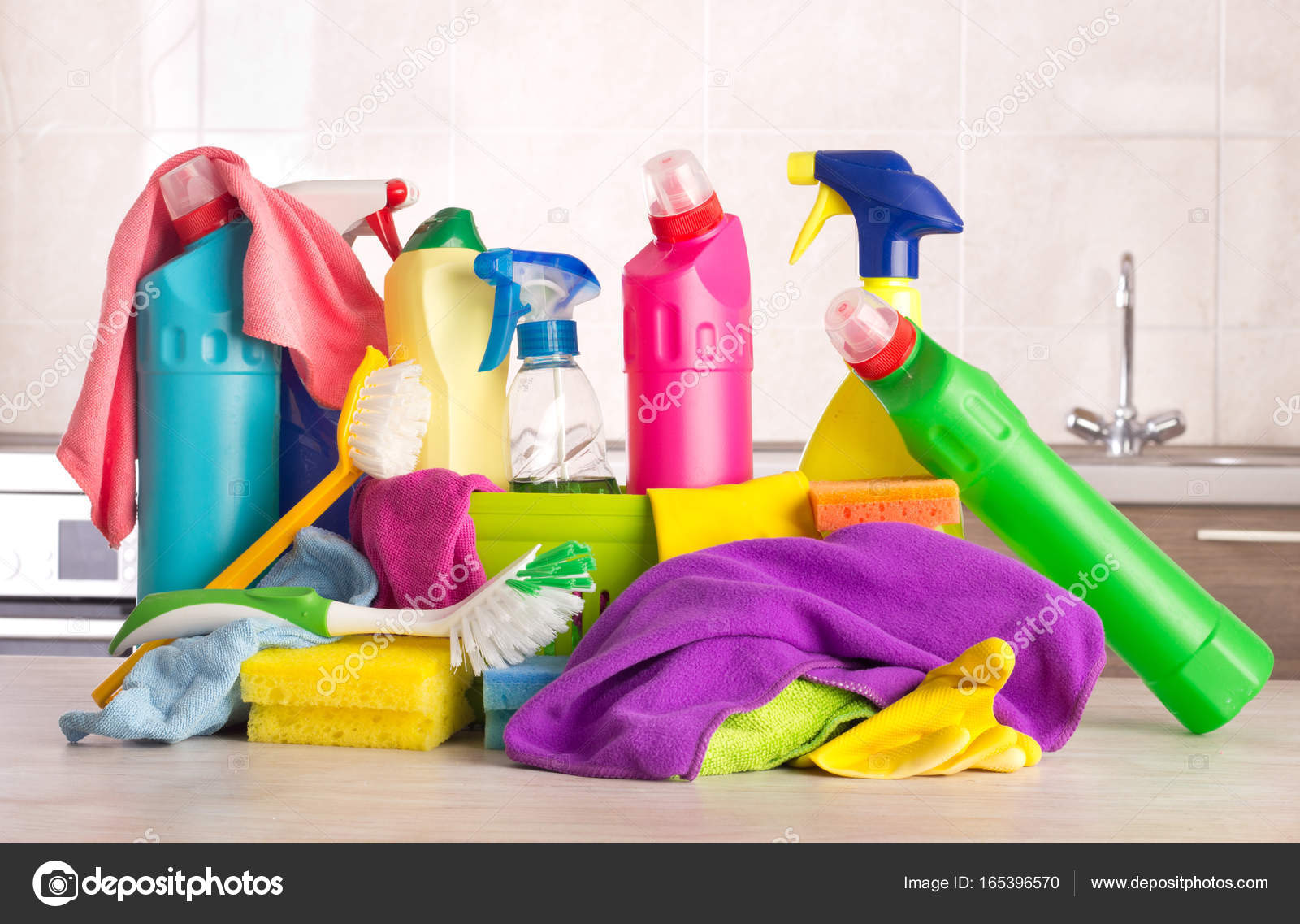 Cleaning Products On Kitchen Table U2014 Stock Photo