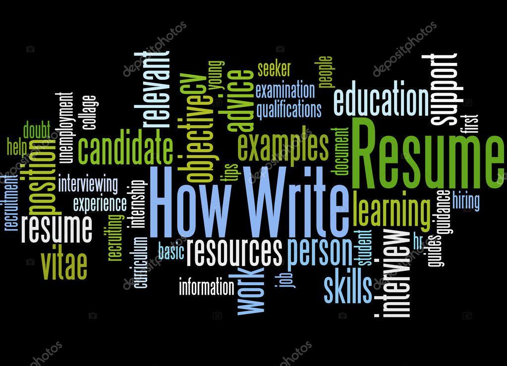Cómo reanudar la escritura, concepto de nube de word 5 — Fotos de ...