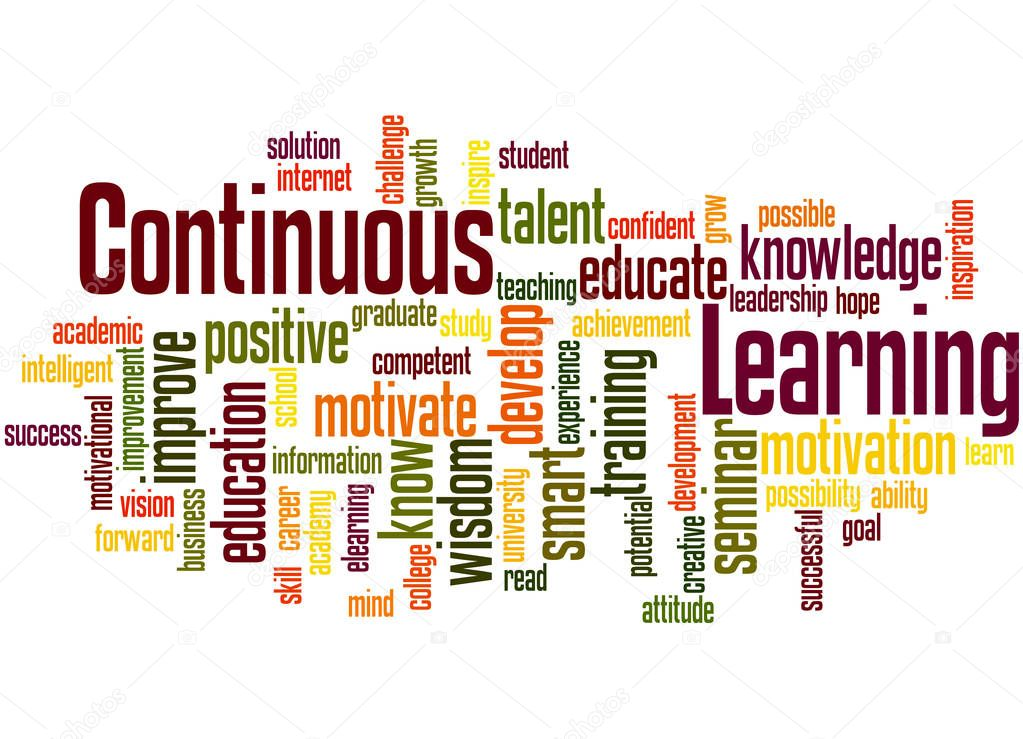 Continuous Learning, word cloud concept 6 — Stock Photo