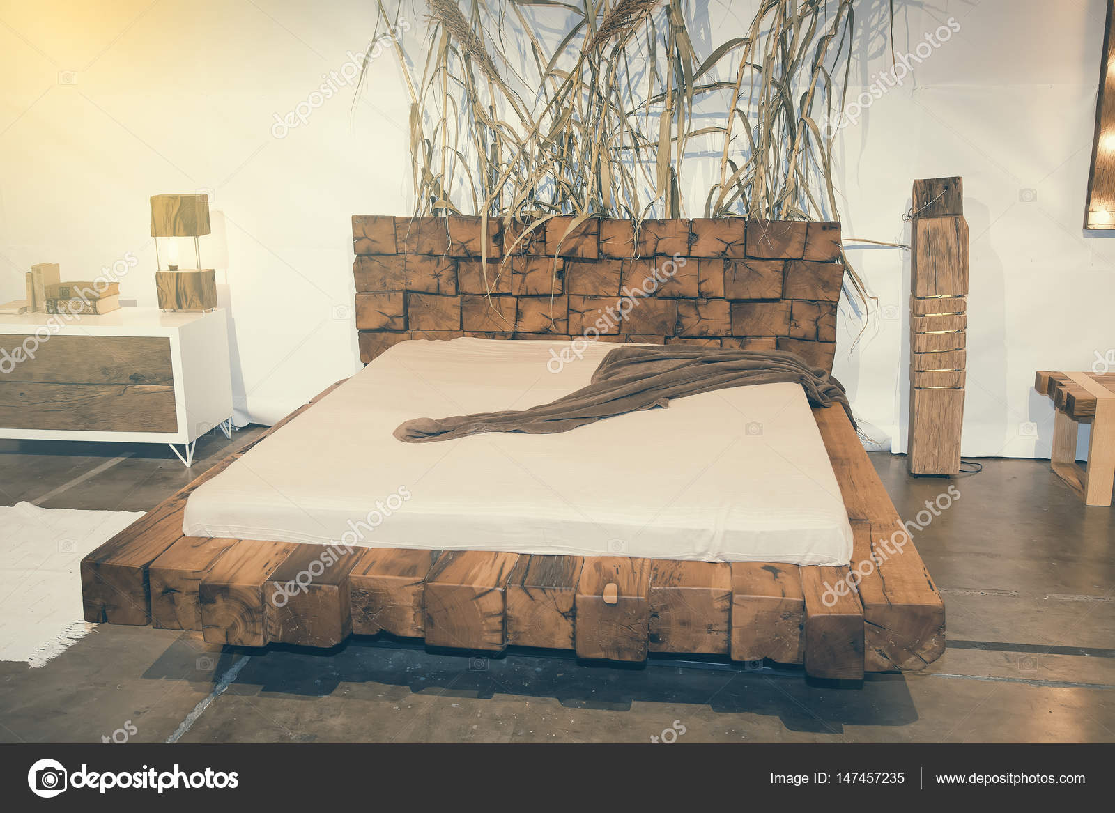 Beautiful Bedroom With Wooden Bed At Furniture Fair 2 Stock Editorial Photo C Kataklinger 147457235