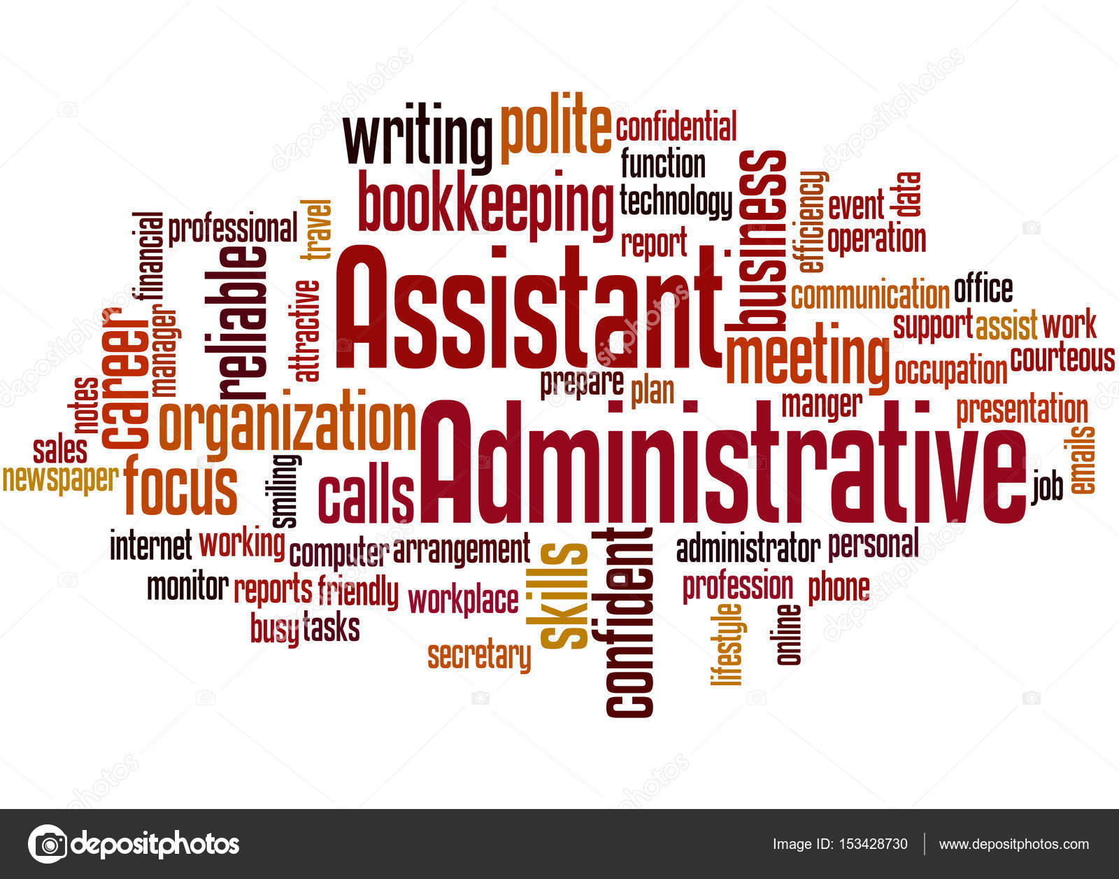 administrative assistant word cloud concept stock photo
