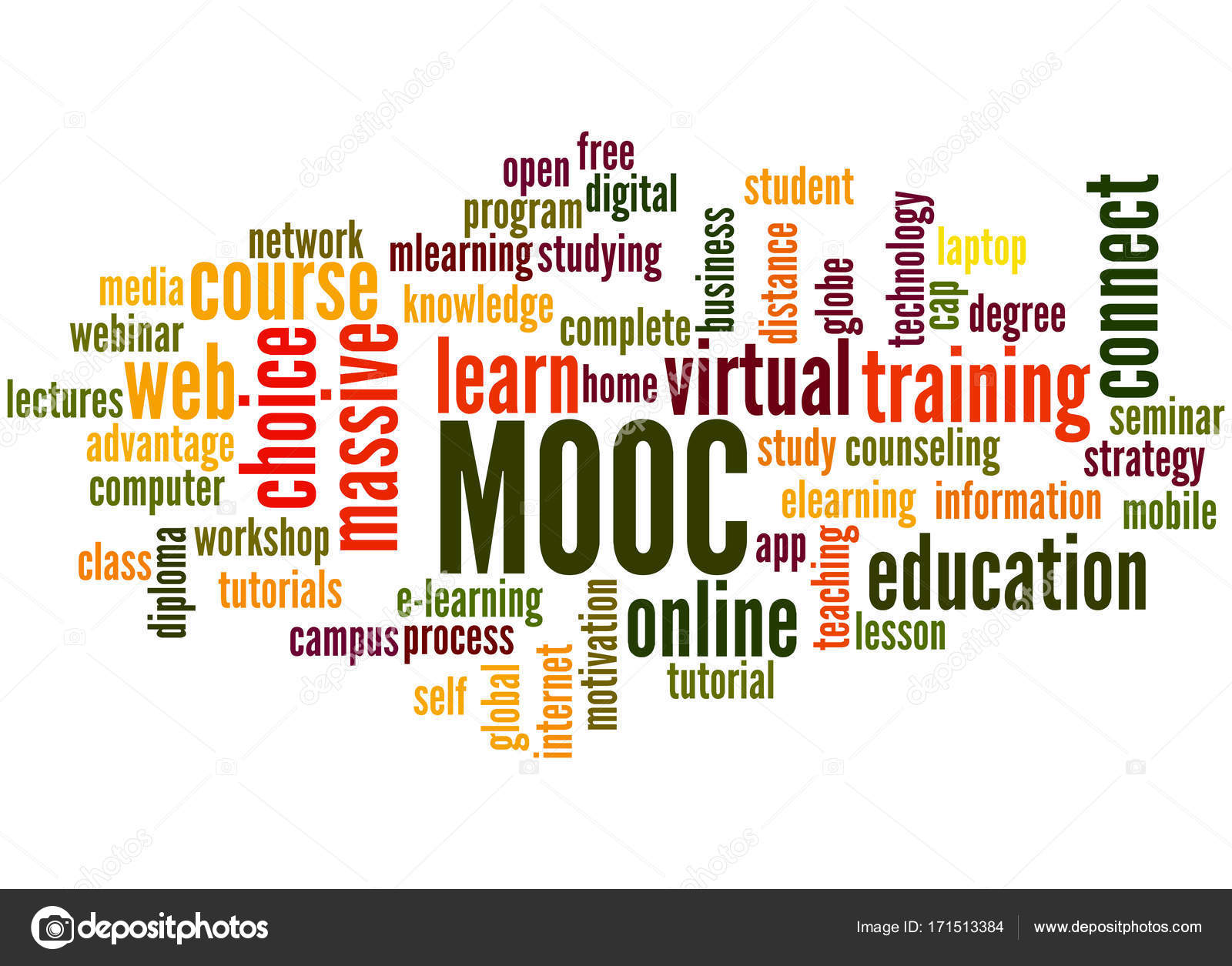 MOOC - massive open online course, word cloud concept 2 — Stock Photo