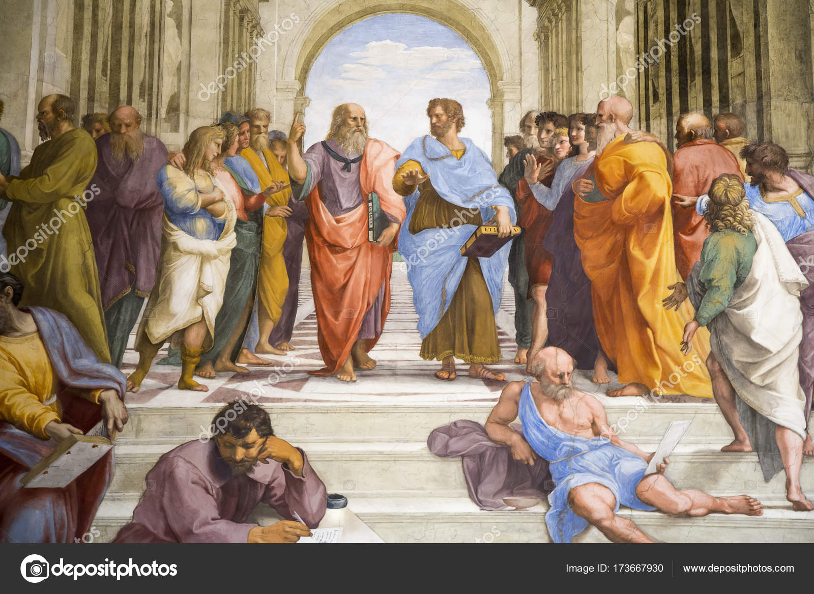 Raphael Detail Of Plato And Aristotle Stock Editorial