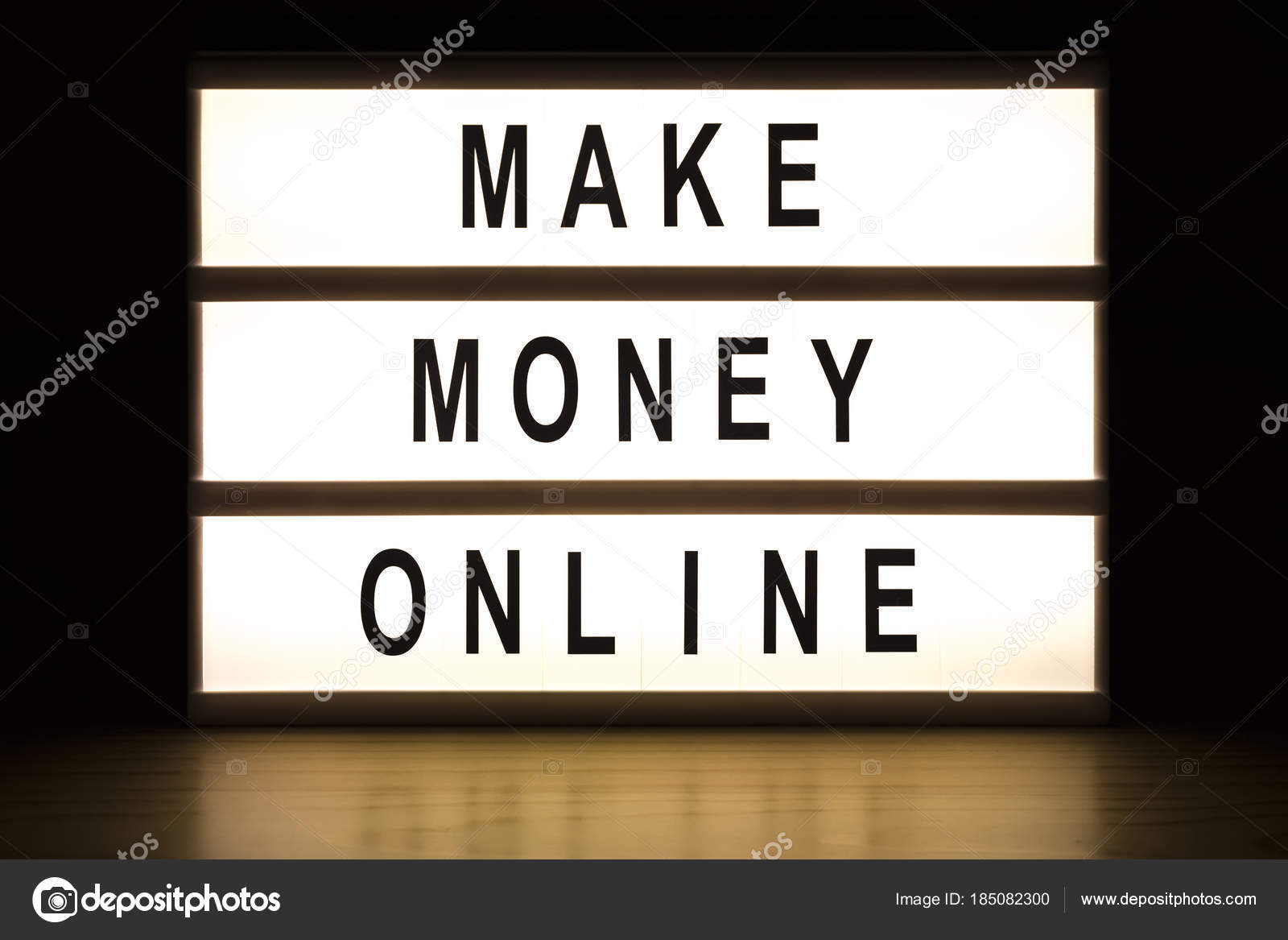 Make money online light box sign board — Stock Photo © kataklinger