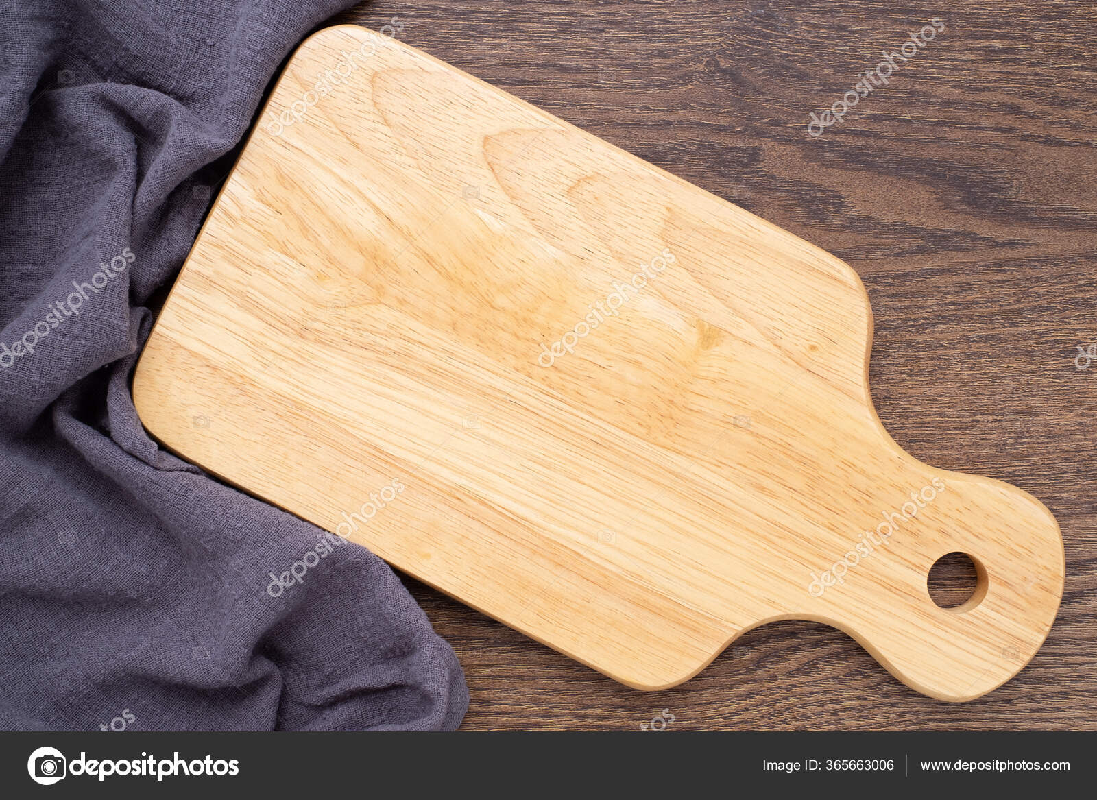 Top View Wooden Chopping Board Napkin Dark Table Background Wood Stock Photo Image By C Setthaphatdc415 Gmail Com 365663006