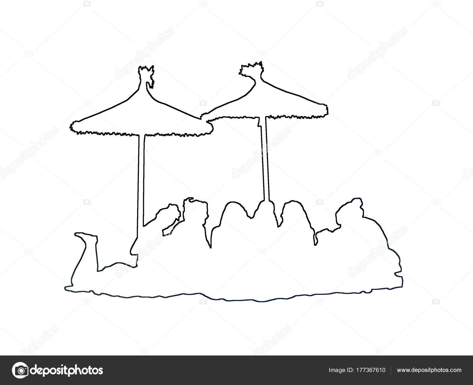 Siluetas Grupo Bajo Sombrillas Contorno Playa Negra Ilustración ...
