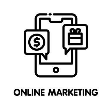 Icon online marketing  outline style icon design  illustration on white background