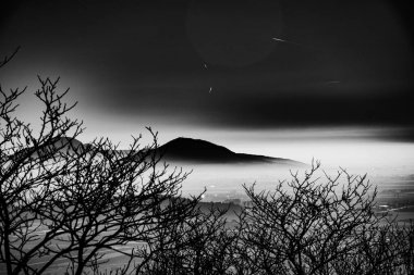 Euganean hills and mist bnw