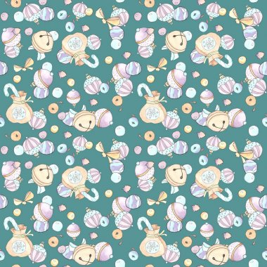 Watercolor seamless pattern on the Christmas theme.