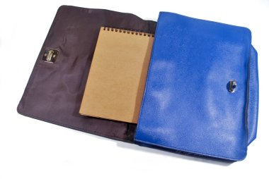 A blue woman leather bag on a white background.(with Clipping Path).