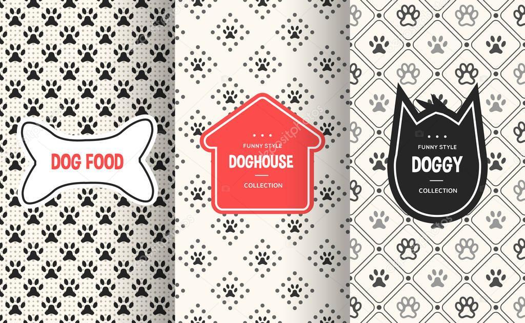 2874b5f1635c Dog seamless pattern background. Vector illustration for animal pet design.  Bone, paw print, puppy house. Stylish decorative label set. White black  colors.