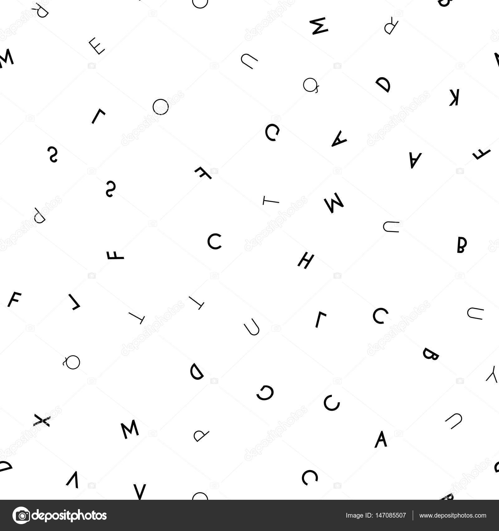 époustouflant Modèle sans couture lettre noir sur fond blanc — Image vectorielle &JQ_89