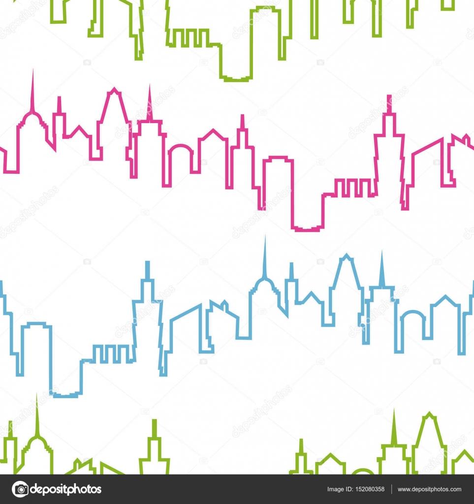 Ciudad moderna silueta de patrones sin fisuras. Ilustración ...