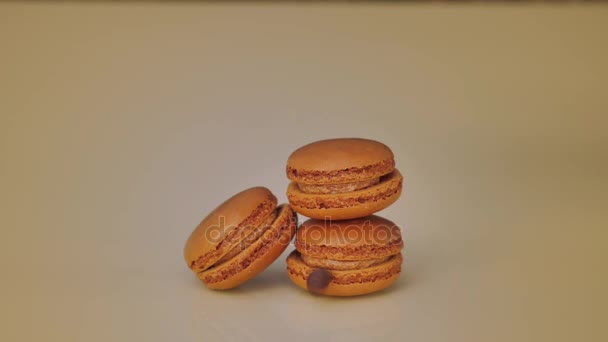 Coffee beans falling on luxury macaroon biscuits. Culinary sweet dessert.