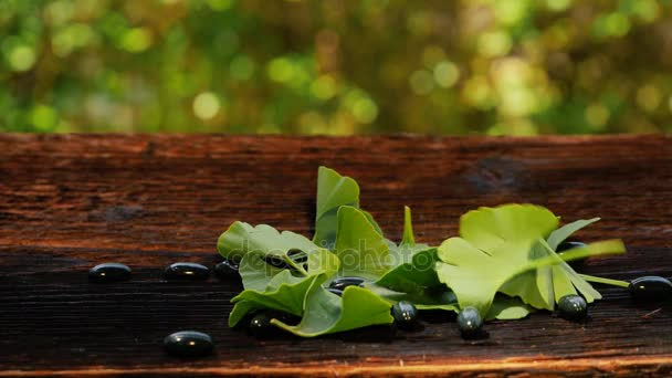 Ginkgo leaves falling on ginkgo gel capsules on wooden table. Nutritional supplement.