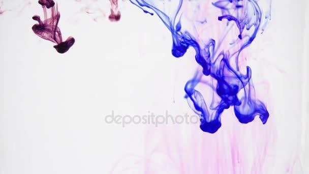 Abstraktní barvy tekoucí vodou. Modré a fialové barvy ve vodě. Meditativní uklidňující pohyb. Směs barev