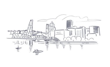 Portland Oregon usa America vector sketch city illustration